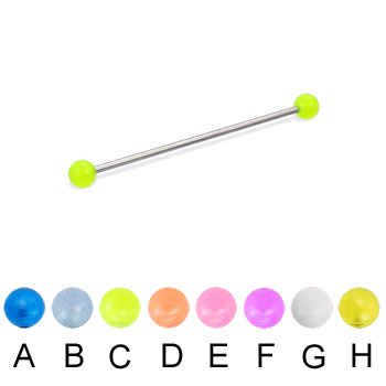 Long barbell (industrial barbell) with glow-in-the-dark balls, 16 ga