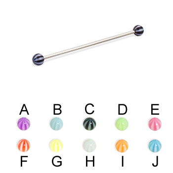 Long Barbell (Industrial Barbell) with Beach Balls, 16 Ga