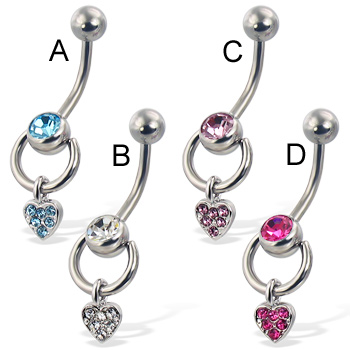 Door knocker belly button ring with jeweled heart