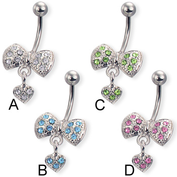 Jeweled bow belly button ring with dangling heart