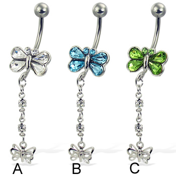 jeweled butterfly belly button ring with dangling butterfly