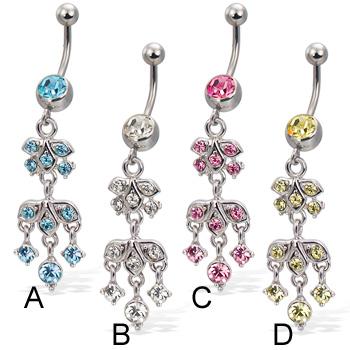 Navel ring with jeweled tiered charm
