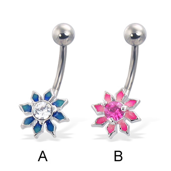 Colored flower navel ring with diamond-shaped petals and gem