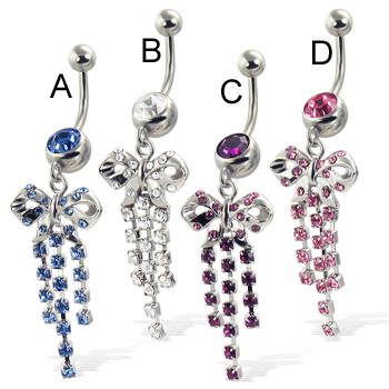 Jeweled belly button ring with bow and three dangles
