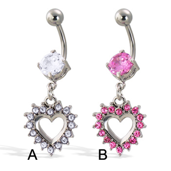 Belly button ring with big gem and dangling jeweled heart