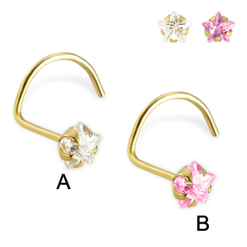 14K yellow gold nose screw  with star-shaped cubic zirconia, 22 ga