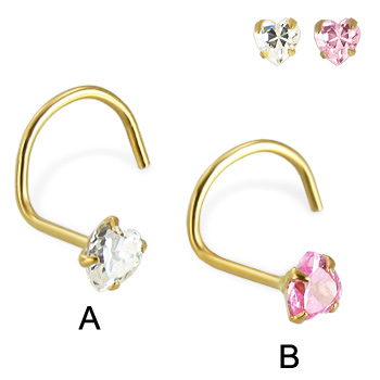 14K Yellow Gold Nose Screw  with Heart -Shaped Cubic Zirconia, 22 Ga