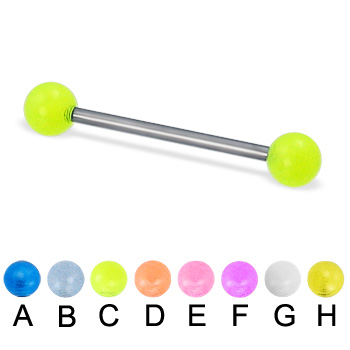 Glow-in-the-dark titanium straight barbell, 16 ga