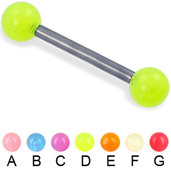 Glow-in-the-dark ball titanium straight barbell, 12 ga