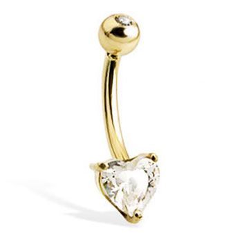 14K Yellow Gold Belly Button Ring with Heart-Shaped Stone And Jeweled Top Ball