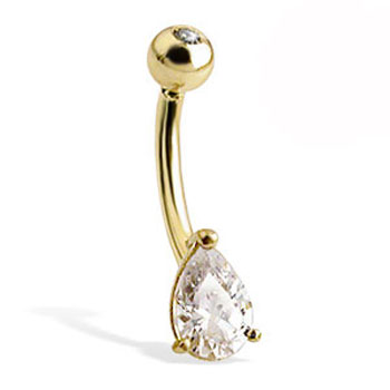 14K Gold Belly Button Ring With Teardrop-Shaped Stone And Jeweled Top Ball