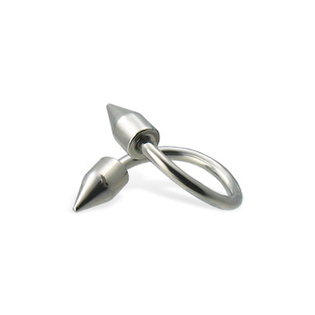 Spiral eyebrow ring with spikes, 16 ga