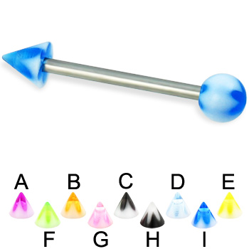 Acrylic flower ball and cone titanium straight barbell, 14 ga