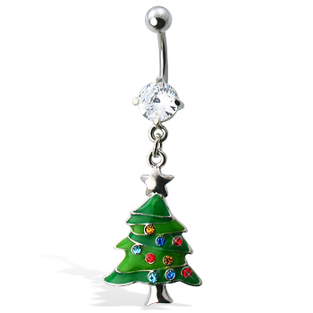 Green Christmas Tree Belly Button Ring