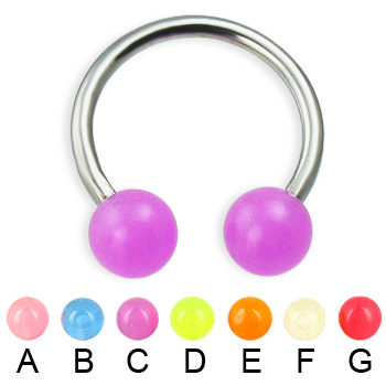 Glow-in-the-dark titanium circular barbell, 14 ga