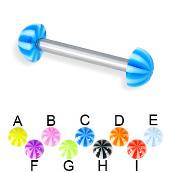 Beach half ball straight barbell, 12 ga
