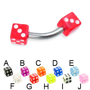 Acrylic dice curved barbell, 12 ga