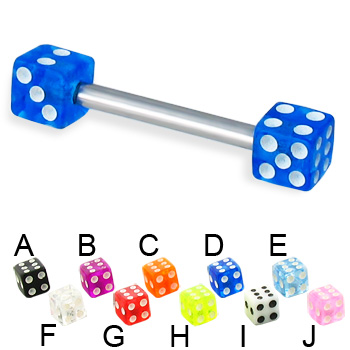 Acrylic dice straight barbell, 12 ga