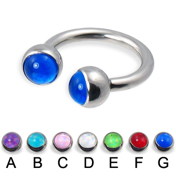 Circular barbell with hologram balls, 12 ga