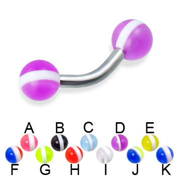 Curved barbell with striped balls, 12 ga