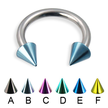 Colored cone circular barbell, 12 ga