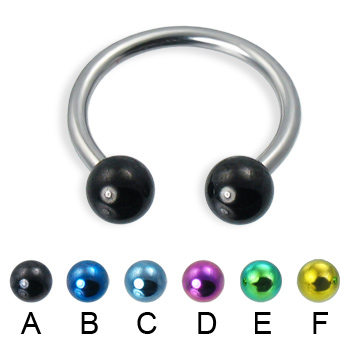 Horseshoe barbell with colored balls, 14 ga