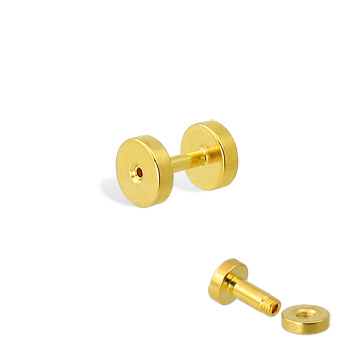 Pair Of Gold Tone Tunnels with Threaded Back