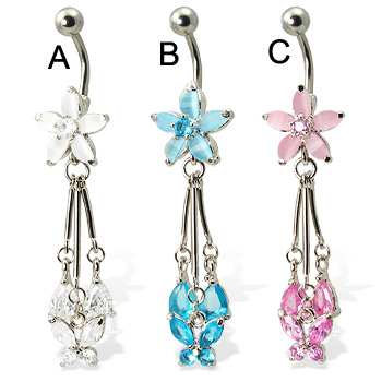 Flower belly button ring with dangling butterfly and teardrops