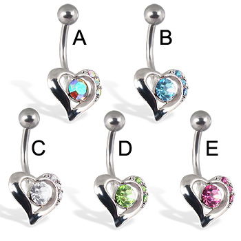 Heart belly button ring with center stone and three small gems