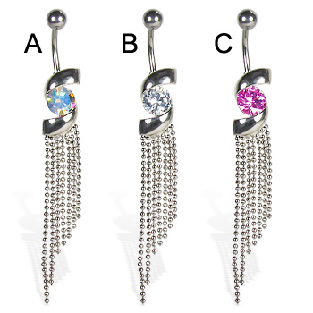 Jeweled belly button ring with uneven dangles