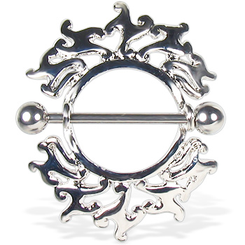 Flaming nipple rings, 14 ga