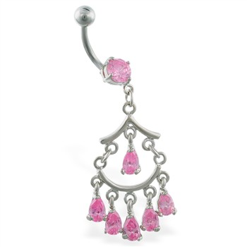 Chandelier belly button ring with dangling stones