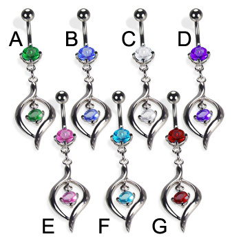 Belly button ring with elegant pendant