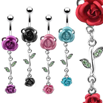 Belly button ring with metal roses