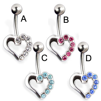 Jeweled heart belly button ring