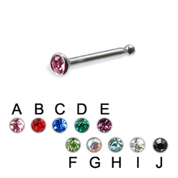 316L  jeweled nose bone, 20 ga