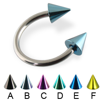 Colored cone circular barbell, 14 ga
