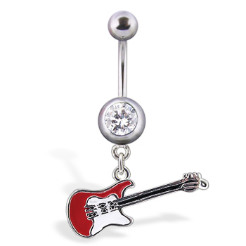 Dangling guitar belly button ring