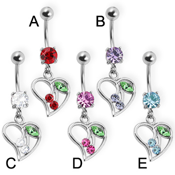 Belly button ring with cherries in a heart