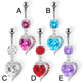 Fancy heart belly button ring