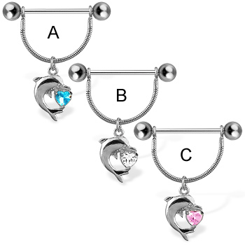 Nipple ring with dolphin and heart shaped gem, 14 ga