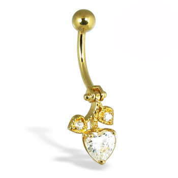 14K Yellow Gold Hinged Belly Button Ring with Heart And Leaves
