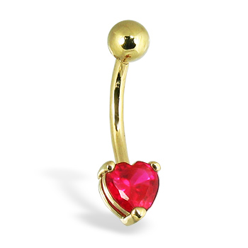 14K Yellow Gold Belly Button Ring With Pronged Red Heart