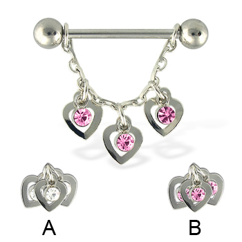 Three hearts nipple ring, 14 ga