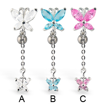 Butterfly reversed belly button ring