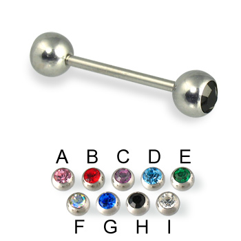 Double jeweled straight barbell, 16 ga