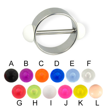 Nipple ring with acrylic half balls, 12 or 14 ga
