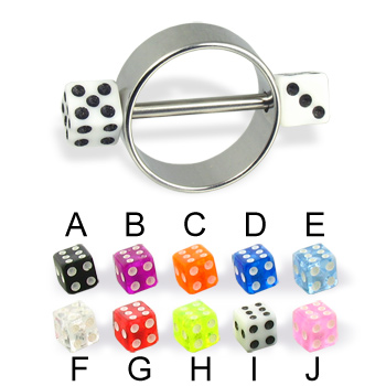 Nipple ring with acrylic dice, 12 or 14 ga