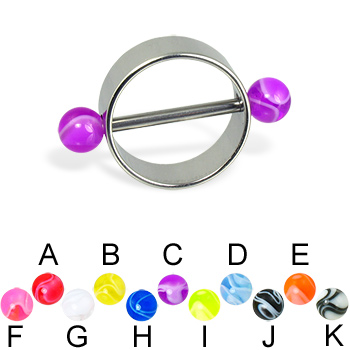 Nipple ring with marble balls, 12 or 14 ga