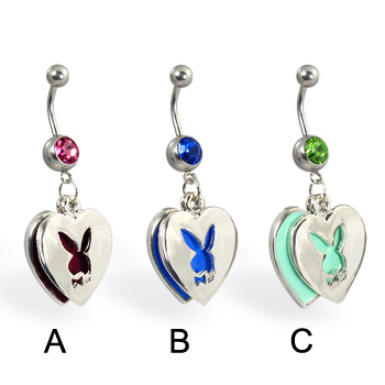 Double Pendant Playboy Belly Button Ring